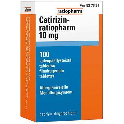CETIRIZIN-RATIOPHARM 10 mg tabl, kalvopääll 100 fol